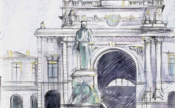 """Wandbild von Heinz Blum """"Bahnhof"""""""