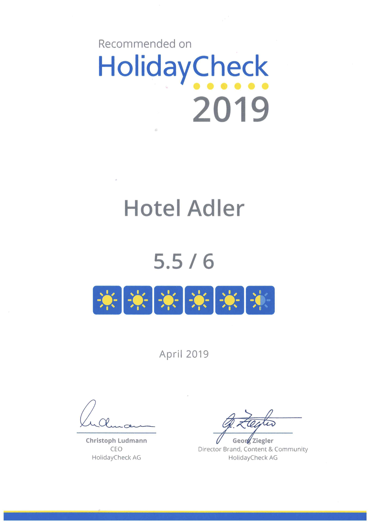 HolidayCheck Certificate