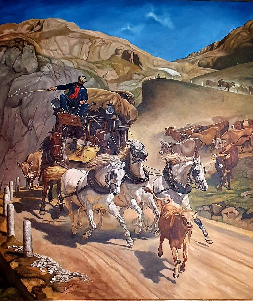 Gemälde Gotthardpost